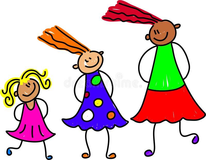 Growing girls vector illustration
