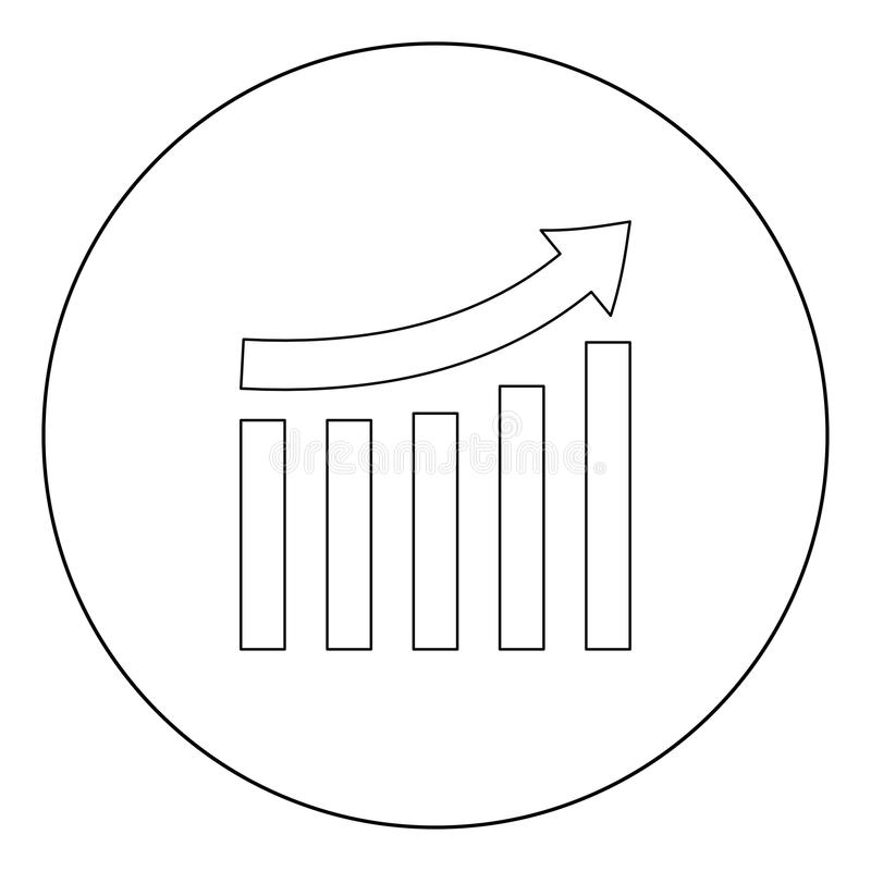 Growing graph black icon in circle vector illustration isolated . royalty free illustration