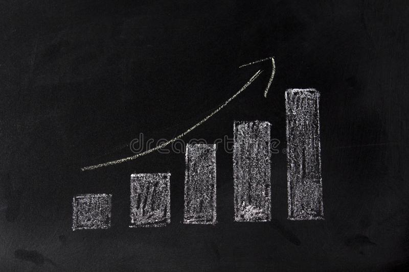 Growing graph on blackboard. Sales growth concept stock photo