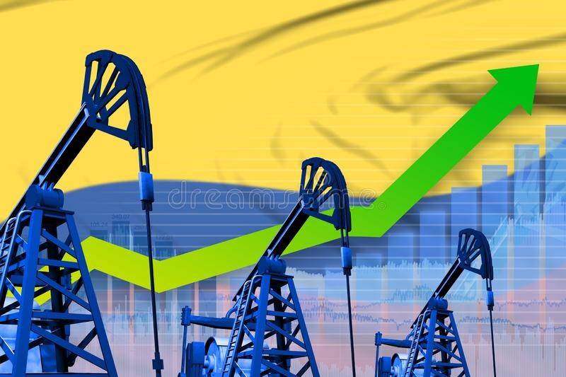 Growing graph on Colombia flag background - industrial illustration of Colombia oil industry or market concept. 3D Illustration stock illustration