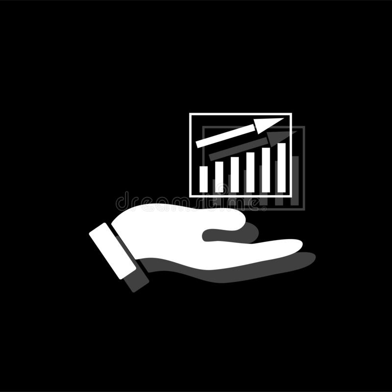 Growing graph holding by hand icon flat royalty free illustration