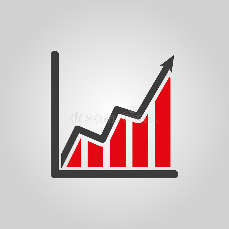 The growing graph icon. Growth and up symbol. Flat royalty free illustration