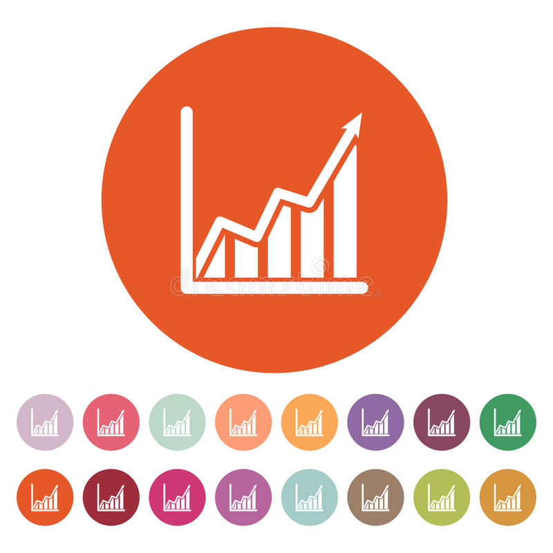 The growing graph icon. Growth and up symbol. Flat stock illustration