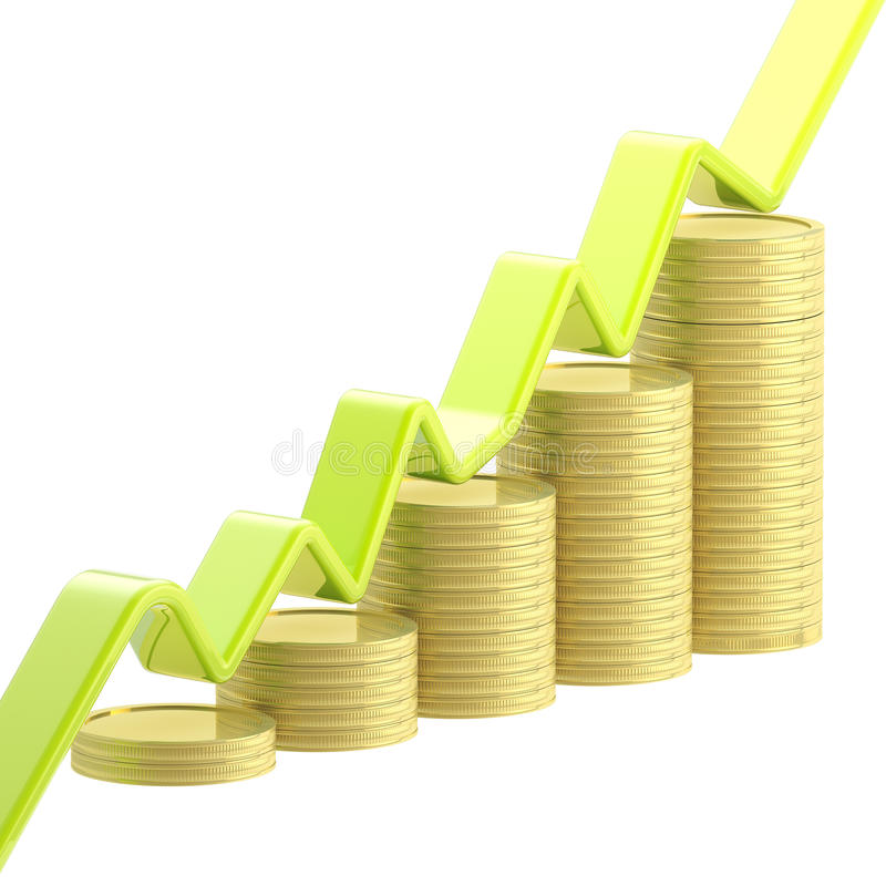 Growing graph on a stack of coins isolated. Growing green graph on a stack of golden glossy coins isolated vector illustration