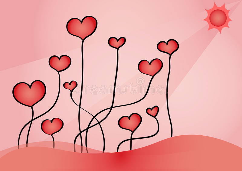 Download Growing hearts stock vector. Image of cute, background - 24007589