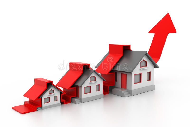 Growing home sale grap. H 3d royalty free illustration