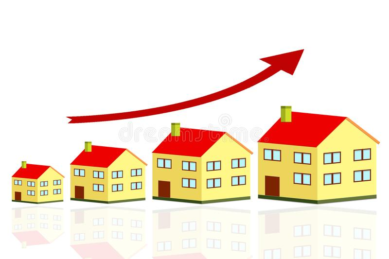 Growing home sale graph, growth in real estate prices, houseing price go up royalty free illustration
