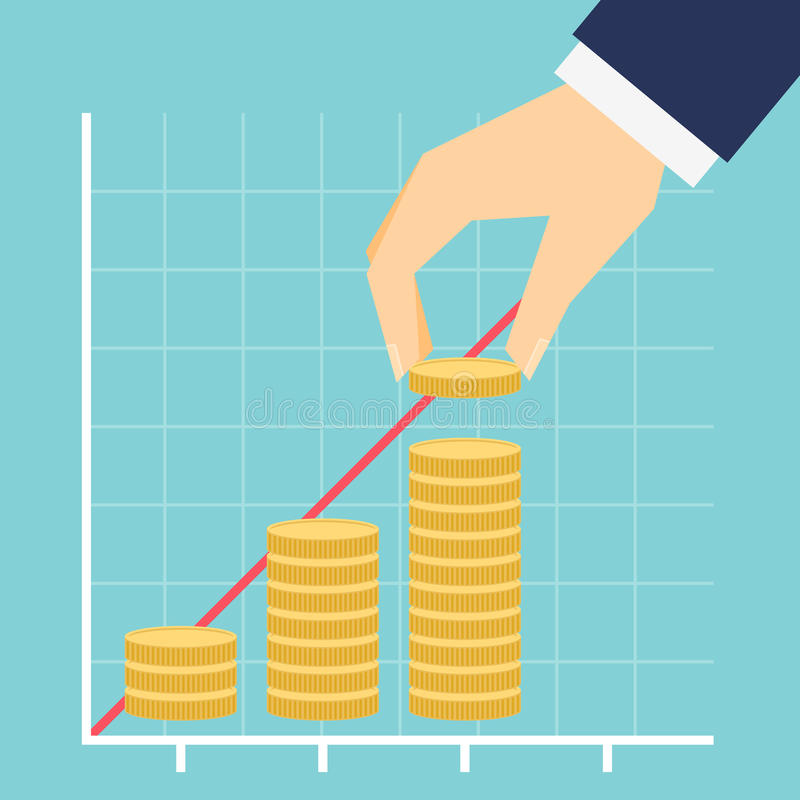 Growing income graph vector illustration stock illustration