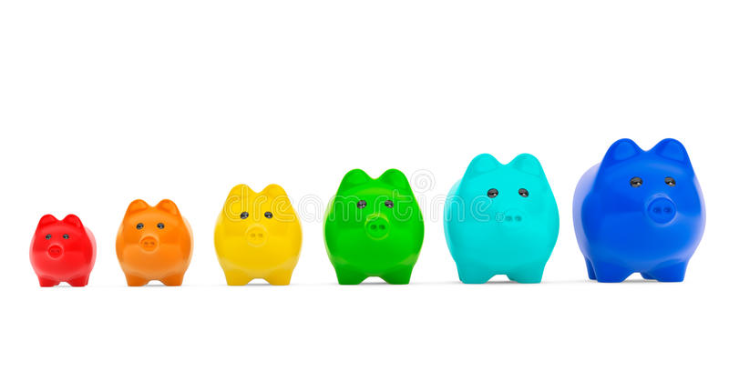 Download Growing Investment Concept. Colour Piggy Banks In Row Stock Illustration - Image: 33635787