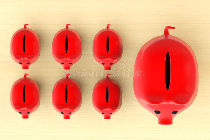 Growing investment concept. Red Piggy Banks in row. On a wooden table vector illustration
