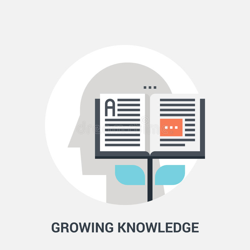 Growing knowledge icon concept stock illustration