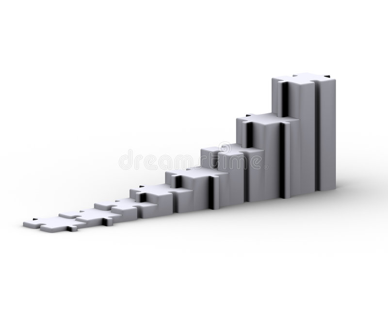 Growing Line. Jigsaw puzzle in a raw to represent a growing graph vector illustration