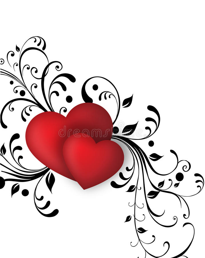 Growing Love. Growing tendrils from two red hearts royalty free illustration
