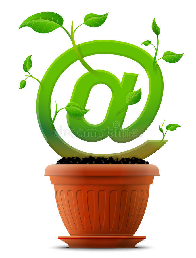 Growing mail symbol like plant with leaves in flow stock illustration