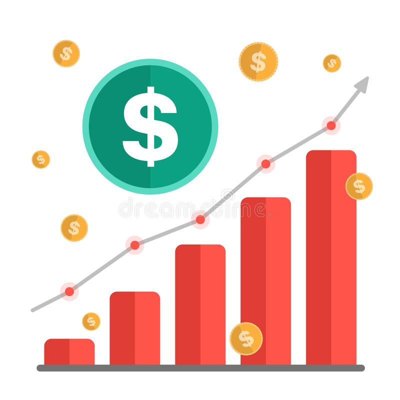 Growing money concept. Dollar sign with chart, rising arrow and coins. Vector illustration royalty free stock image