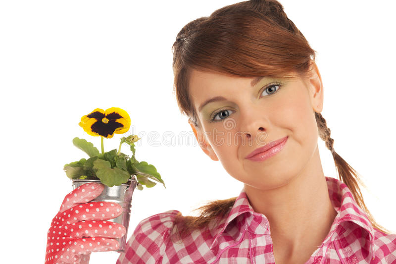 Growing new generation. Girl with viola in pot stock image