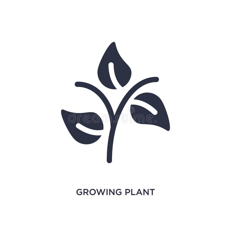 Growing plant icon on white background. Simple element illustration from ecology concept. Growing plant isolated icon. Simple element illustration from ecology stock illustration