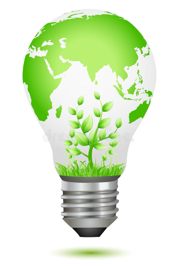Growing plant inside global bulb vector illustration