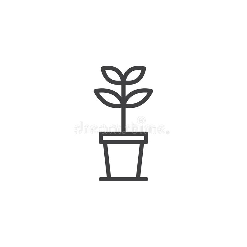 Growing plant in a pot outline icon stock illustration