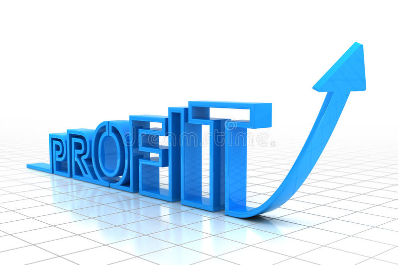 Growing profit. Upward arrow forming the word profit, 3d render royalty free illustration