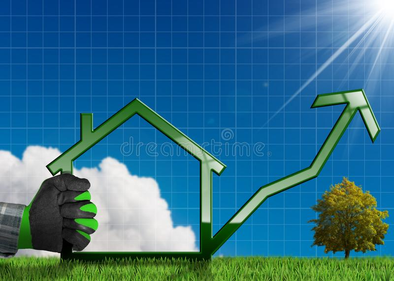 Growing Real Estate Sales - Graph with House stock photography
