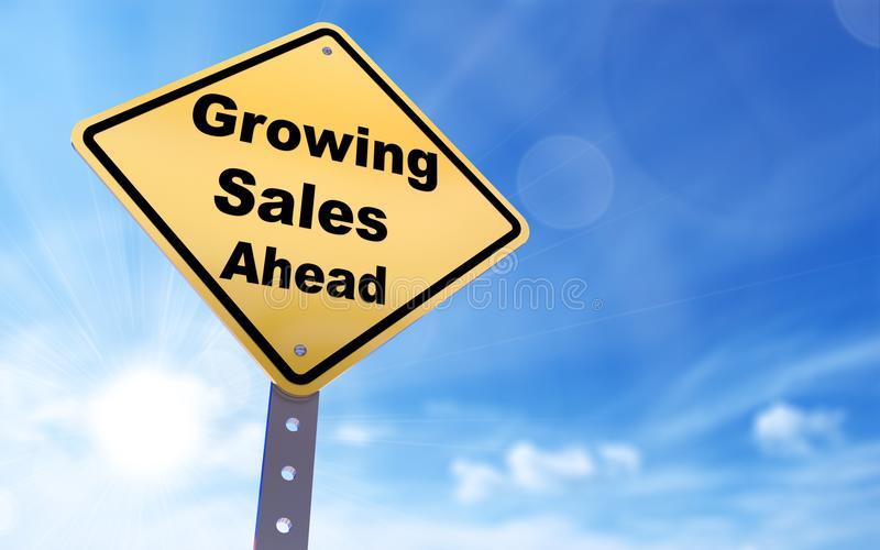 Growing sales ahead sign royalty free illustration