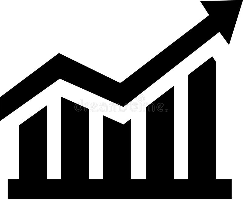 Growing sales chart. Finance vector stock illustration