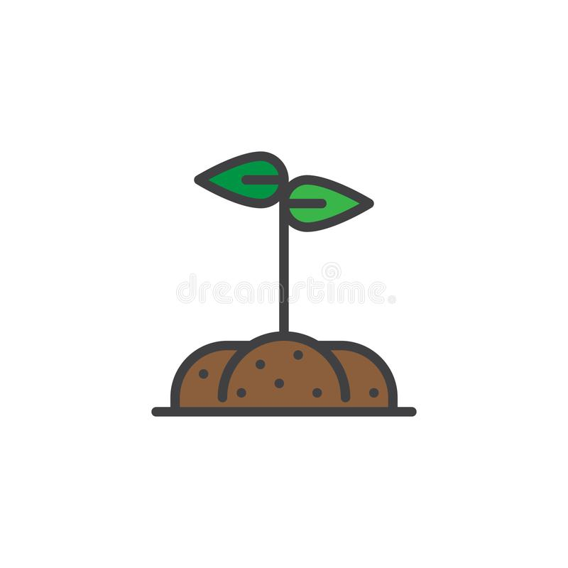 Growing sprout in a soil filled outline icon vector illustration