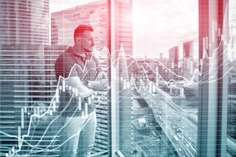 Growing stock chart. Businessman on city background. Double exposure royalty free stock photos