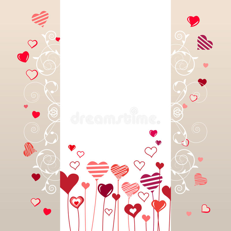 Growing stylized hearts vector illustration