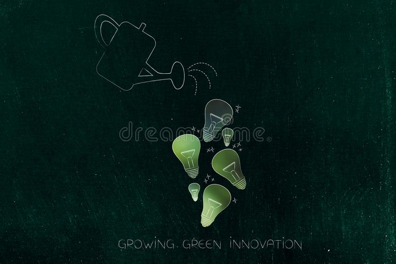 Watering can and ideas light bulbs going green, ecology concept stock illustration