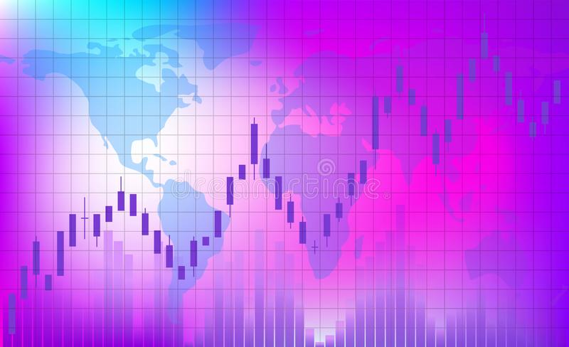Growing trend. The schedule of trading on the exchange. stock illustration