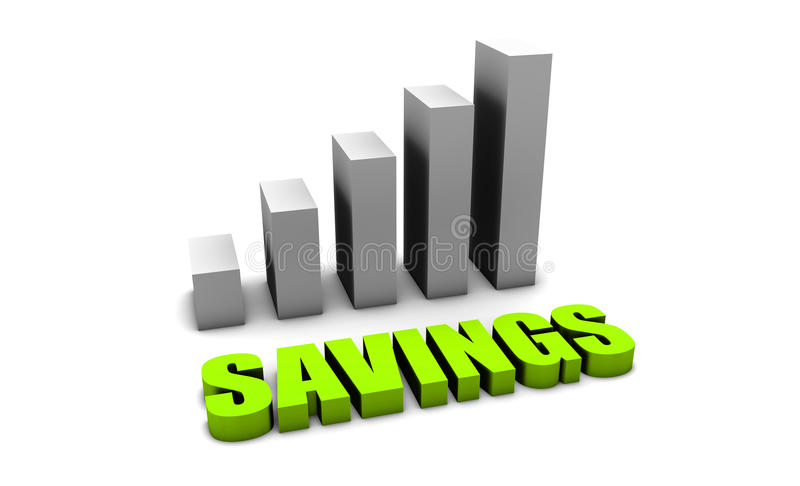 Growing Your Savings. In 3d with Bar Chart vector illustration