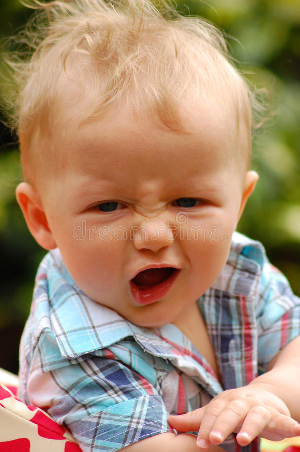 Growling baby stock photography