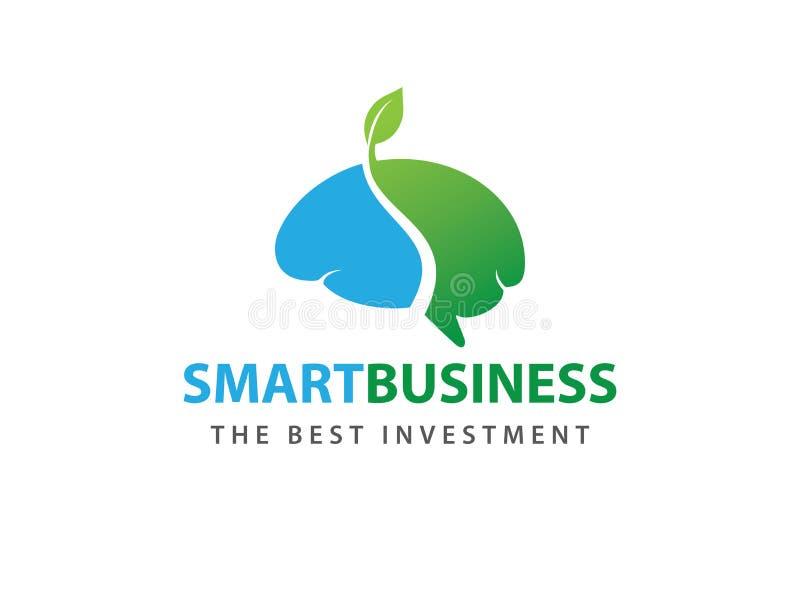 Grown green smart brain vector logo design stock illustration
