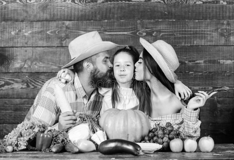 Grown with love. Family farmers with harvest wooden background. Family rustic style farmers at market with vegetables. Fruits and greenery. Parents and daughter royalty free stock photography
