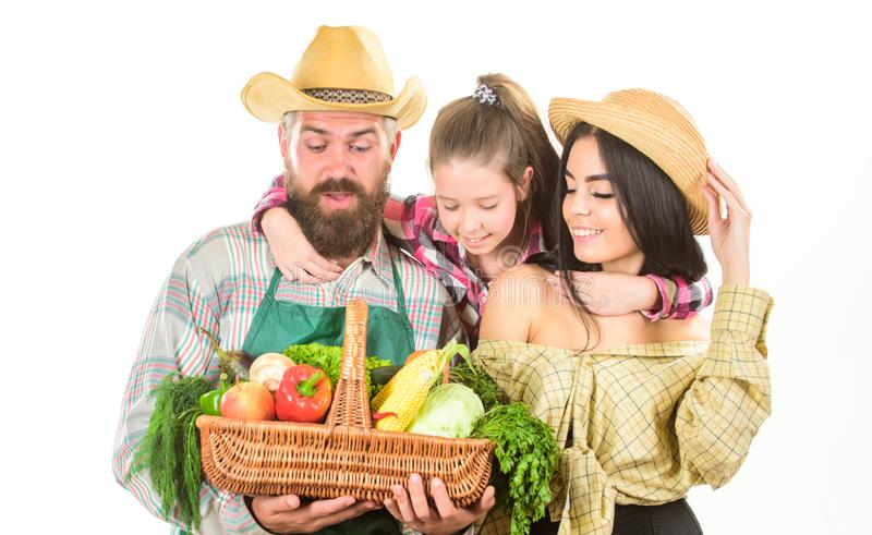 Grown with love. Parents and daughter celebrate harvest. Family farmers gardeners vegetables harvest isolated white. Background. Family rustic farmers proud of stock image