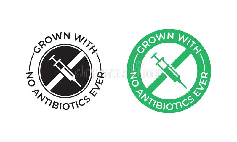 Grown with no antibiotics food label stamp, no hormones chicken and beef or pork meat vector logo. Natural healthy farm grown vector illustration