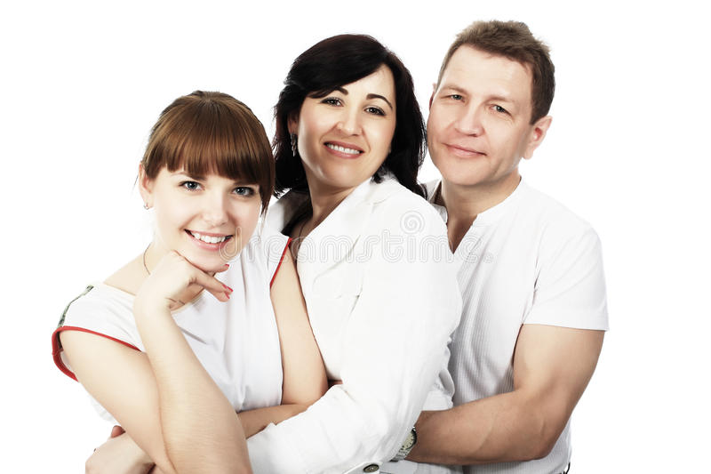 Grown-up daughter. Happy family: parents with their grown-up daughter stock image