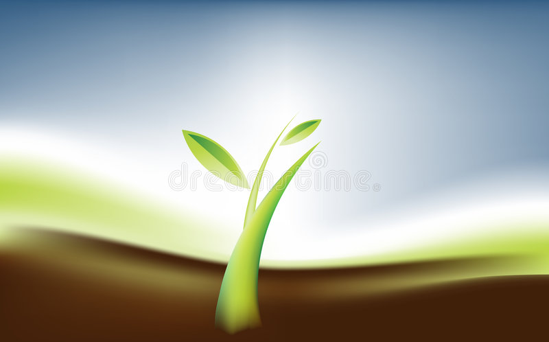 Growth 01. Small plant , the growth meaning with care stock illustration