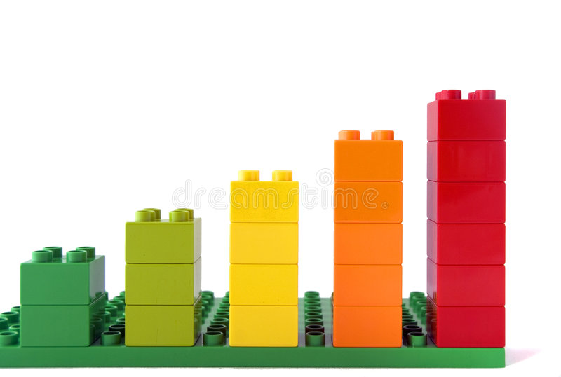 Growth. Metaphor or colorful graph - Isolated block stairs leading to nowhere stock photo