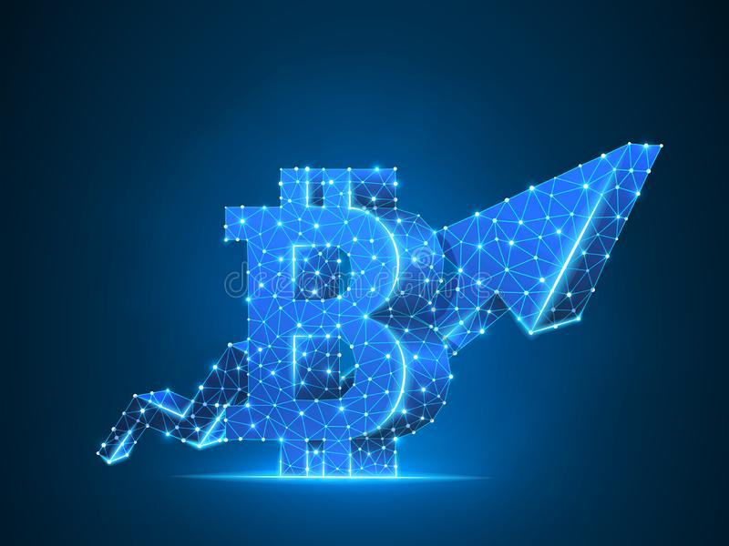 Growth arrow Bitcoin chart 3d. Vector polygonal neon cryptocurrency Low poly business, success, cash, finance concept. Growth arrow Bitcoin chart wireframe vector illustration