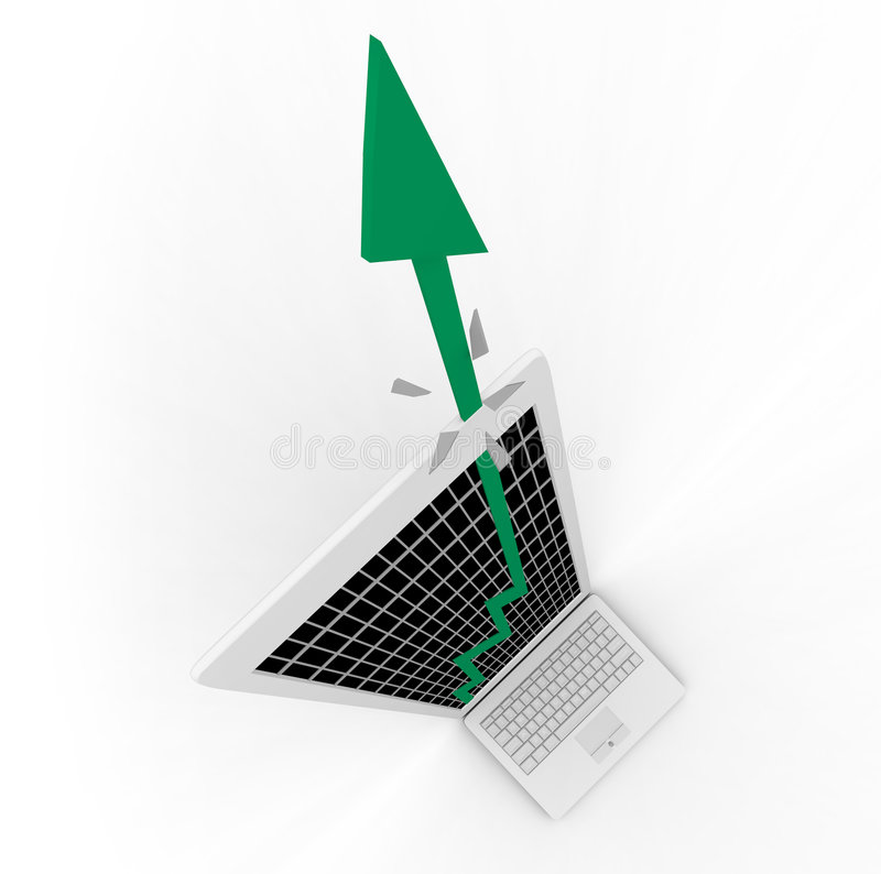 Growth Arrow Bursts From Computer Screen