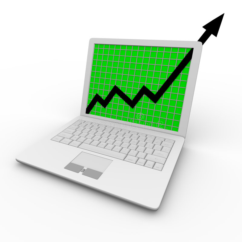 Growth Arrow on Laptop Computer. A growth arrow shoots upward on a white laptop computer screen royalty free illustration