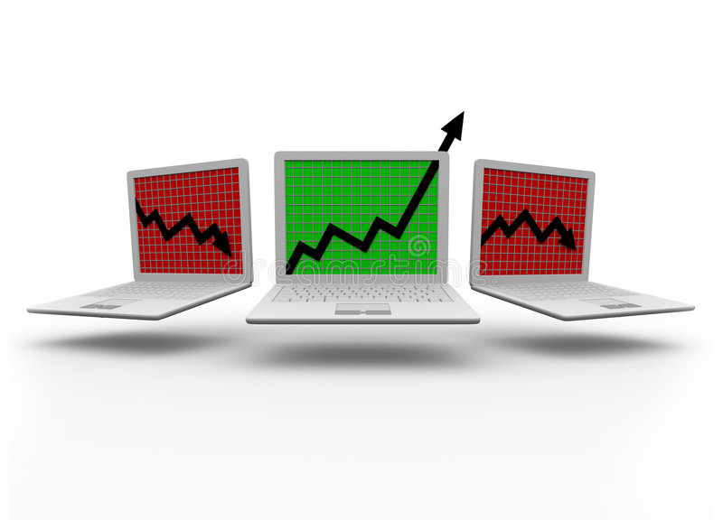 Growth Arrow on Laptop Computer. One laptop computer displays an upward growth arrow while two others show downward arrows stock illustration