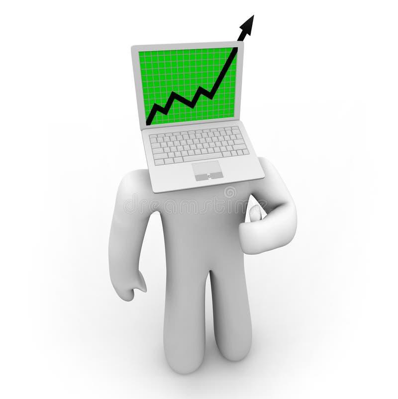 Growth Arrow on Laptop Figure. A growth arrow bursts through a laptop computer screen atop a figure's body vector illustration