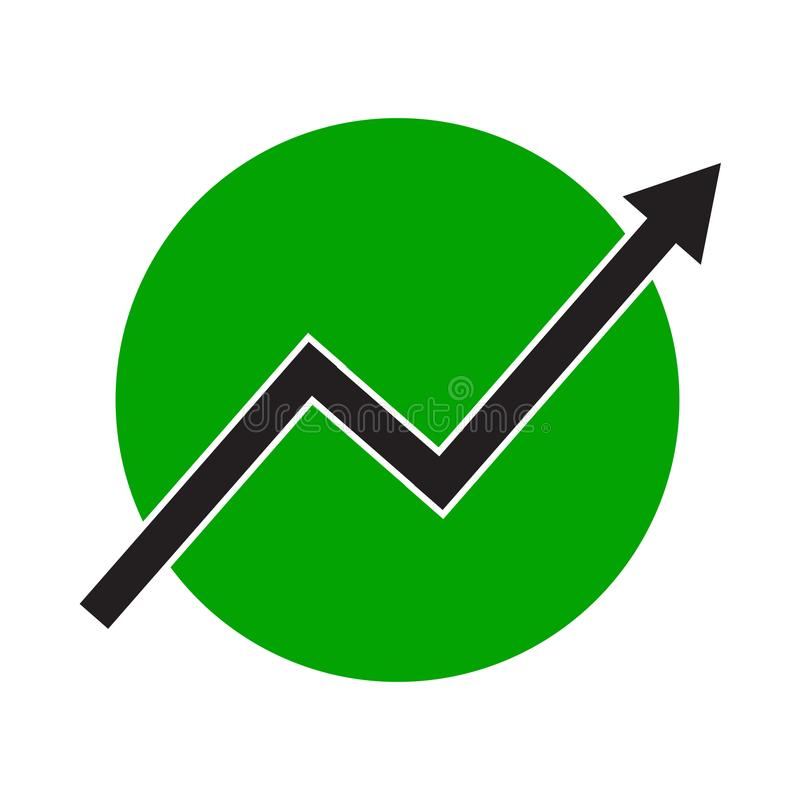 Growth arrow line chart icon. Growing diagram flat vector illustration. Business concept on green round background royalty free illustration