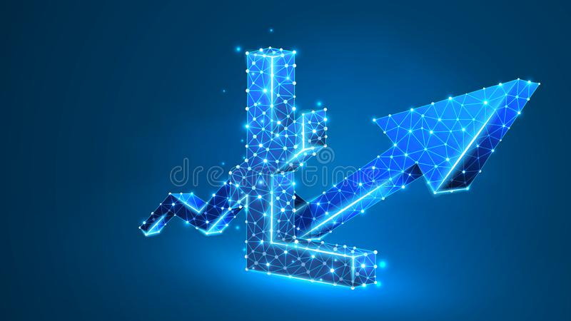 Growth arrow Litecoin cryptocurrency chart. Business, data cash sucess, digital finance concept. Abstract, digital. Wireframe low poly mesh vector blue neon 3d royalty free illustration