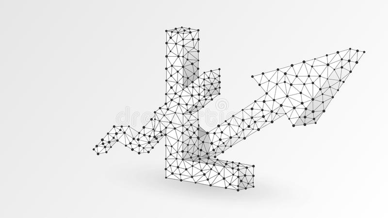 Growth arrow Litecoin cryptocurrency chart. Business, data cash sucess, digital finance concept. Abstract, digital, wireframe low. Poly mesh vector white stock illustration