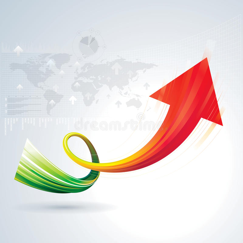 Growth Arrow. Sign with business background vector illustration